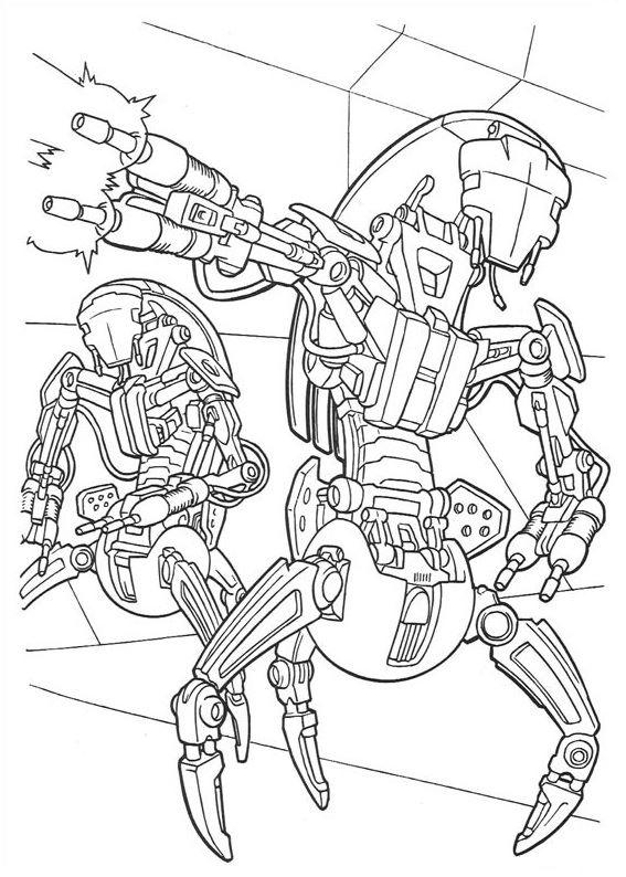 coloriage Star Wars et dessins - Coloriage de droïdes destroyers