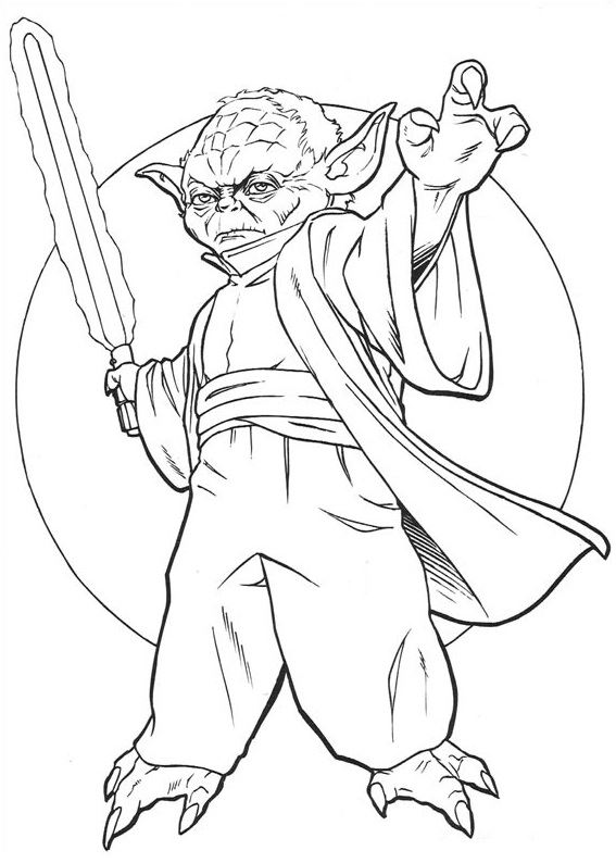 coloriage Star Wars et dessins - Coloriage du Maite Jedi Yoda
