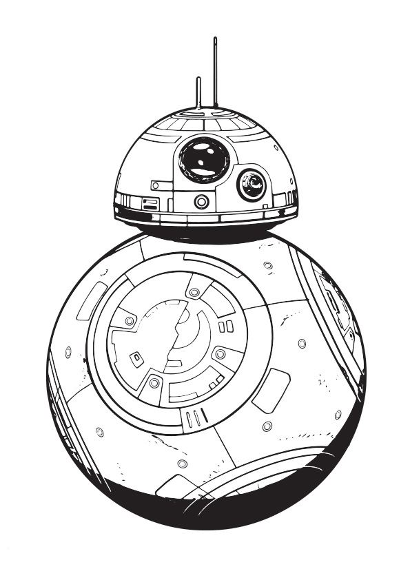 coloriage Star Wars et dessins - Coloriage du robot BB8 (ou BB-8)