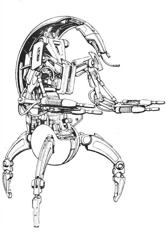 coloriage Star Wars et dessins - Coloriage d'un droïde destroyer