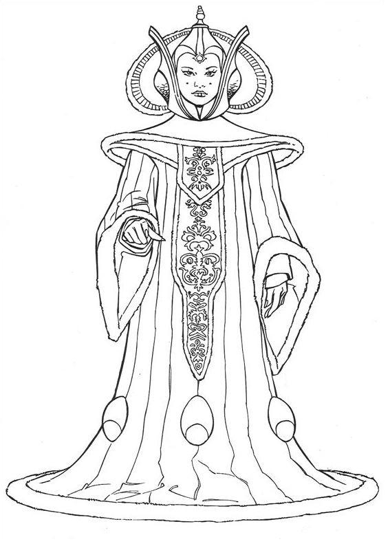 coloriage Star Wars et dessins - Reine Amidala de Naboo
