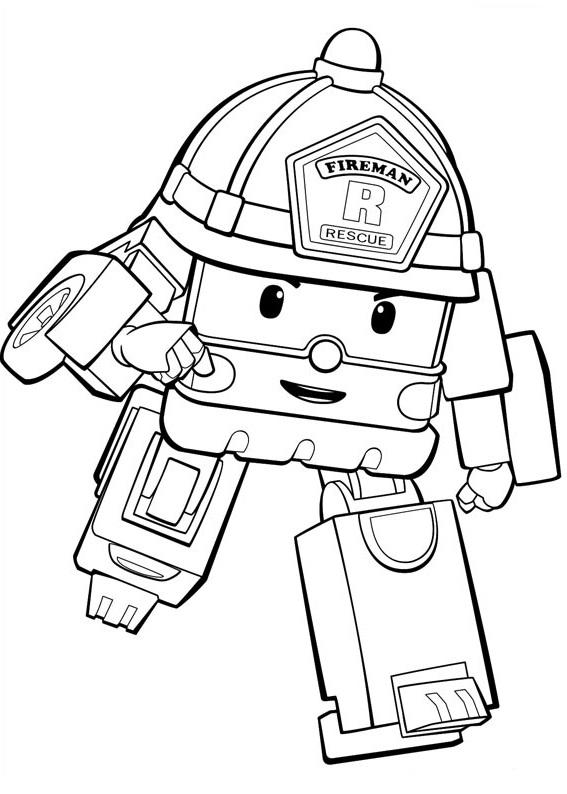 Coloriage Robocar Poli - Coloriage de Roy le pompier
