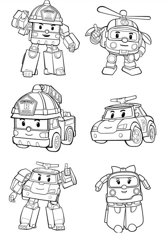 Coloriage Robocar Poli - Coloriage des personnages de Robocar Poli