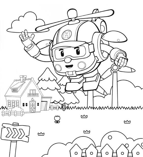 Coloriage Robocar Poli - Dessin à colorier d'Héli 1