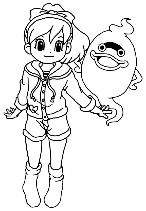Coloriage Yo-Kai Watch - Coloriage Katie et Whisper