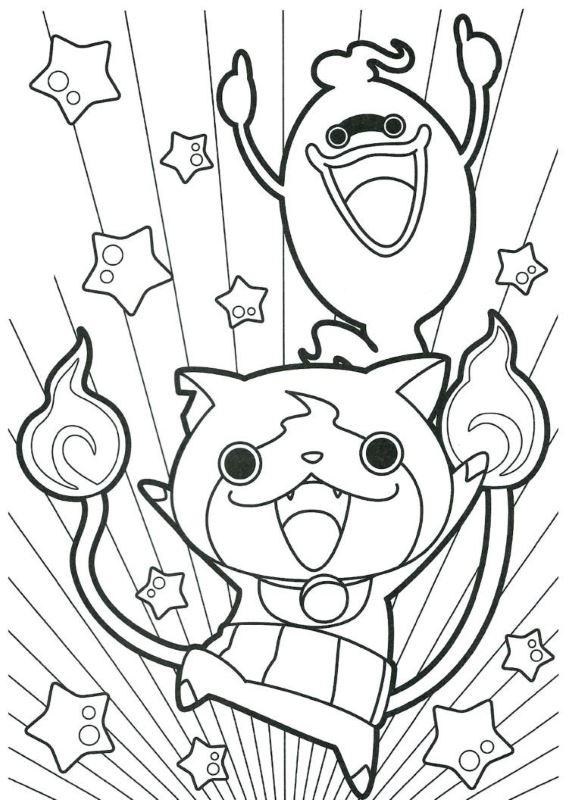 Coloriage Yo-Kai Watch - Jibanyan et Whisper