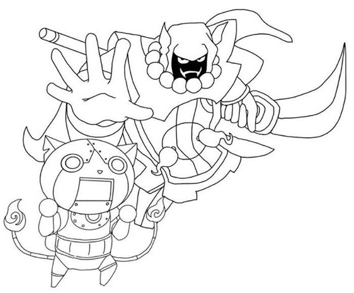 Coloriage Yo-Kai Watch - Padelou et Robonyan