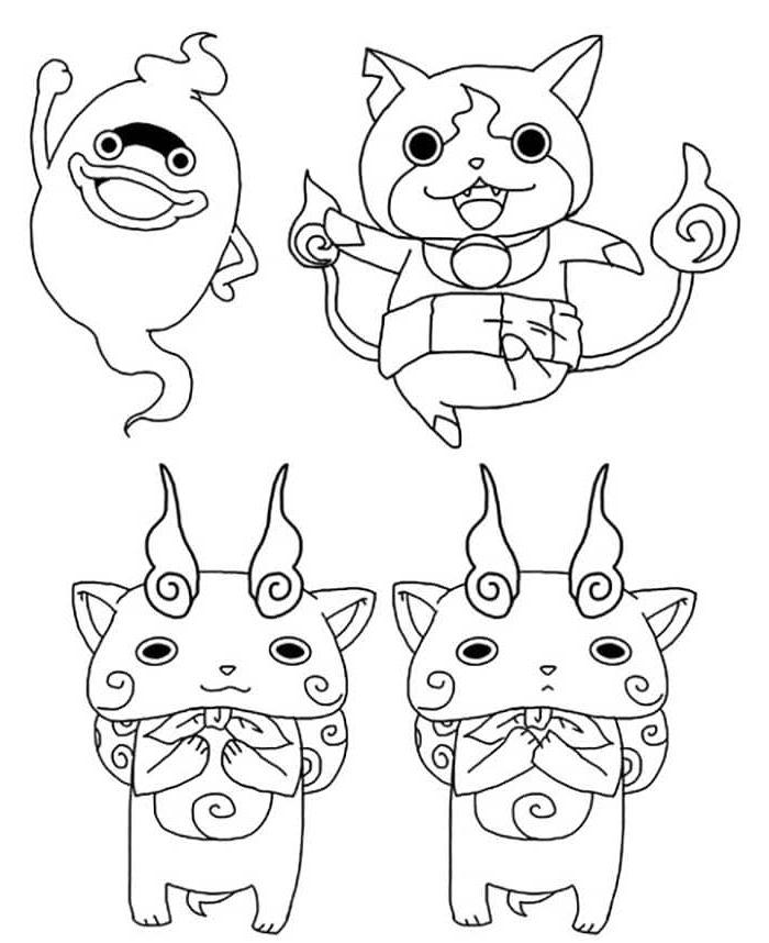 Coloriage Yo-Kai Watch - Whisper, Jibanyan, Komasan et Komajiro