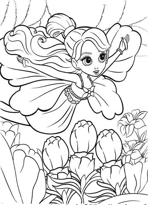 Coloriage de Barbie qui vole comme un papillon
