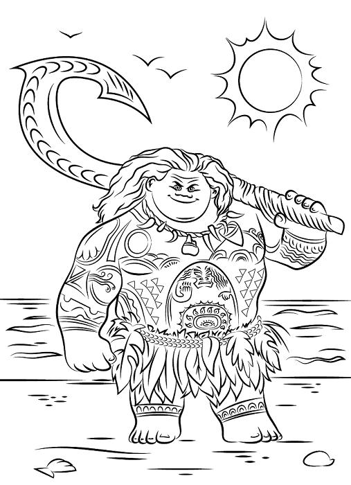 Coloriage de Maui, le demi-dieu dans Vaiana