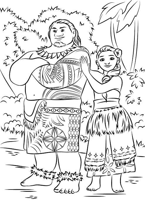 Coloriage des parents de Viana - Sina et Tui