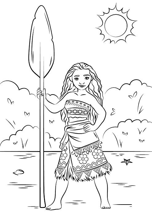 Coloriage Vaiana - Coloriage de Vaiana avec une pagaie