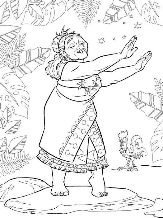Coloriage Vaiana - Gramma Tala