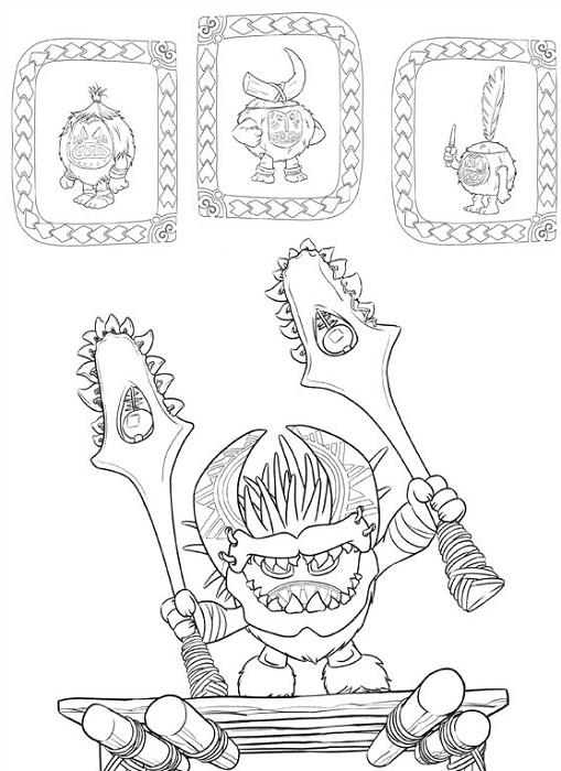 Coloriage Vaiana - La tribu des Kakamoras