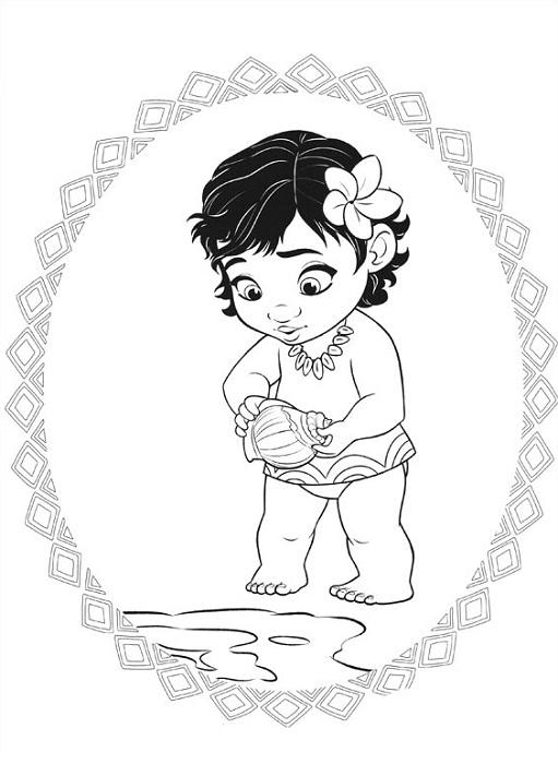 Coloriage de Vaiana enfant sur la plage avec un coquillage