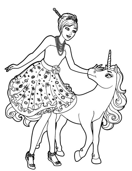 Coloriage Barbie et la licorne