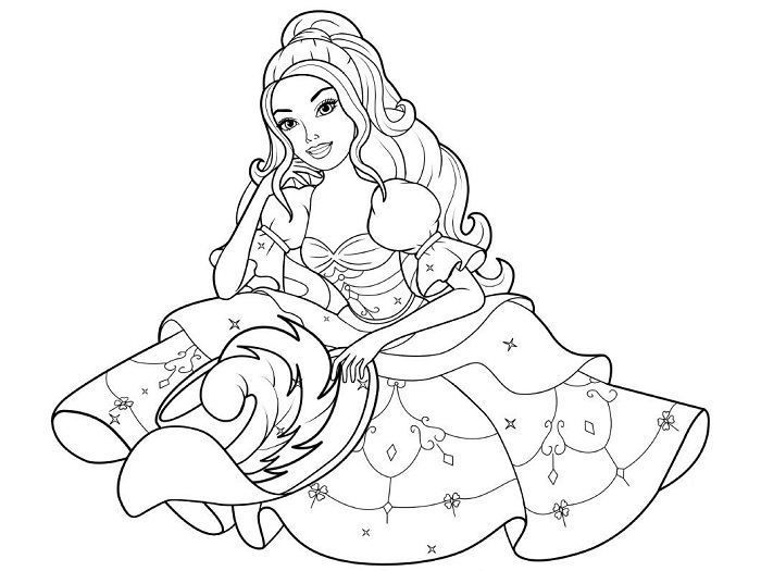 Coloriage Barbie princesse avec sa jolie robe