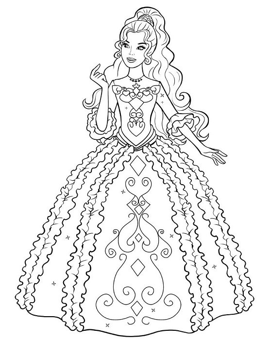Coloriage de Barbie prête pour le bal