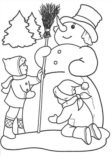 Coloriage bonhomme de neige et enfants