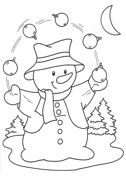 Coloriage bonhomme de noël qui jongle