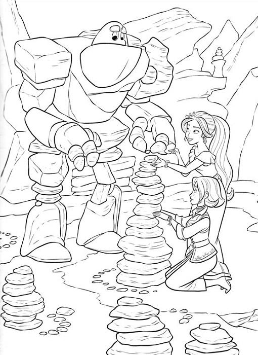 Coloriage d'Elena et le golem de pierre