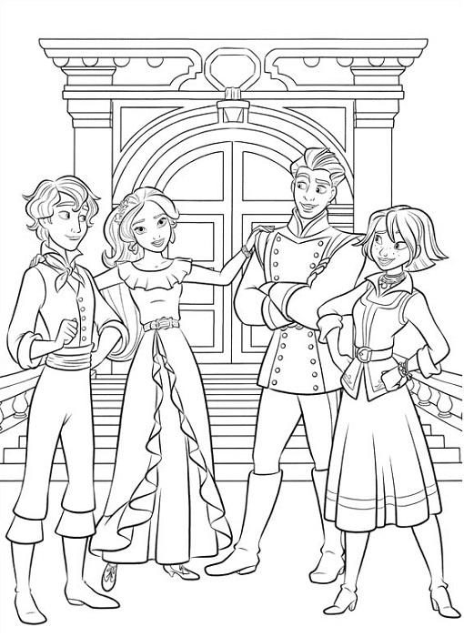 Coloriage d'Elena et ses amis