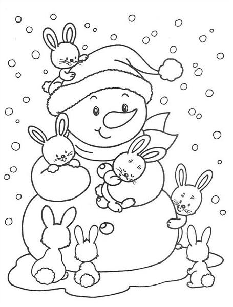 Coloriage de bonhomme de neige et petits lapins
