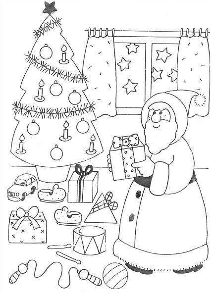 Coloriage de sapin, papa noël et cadeaux