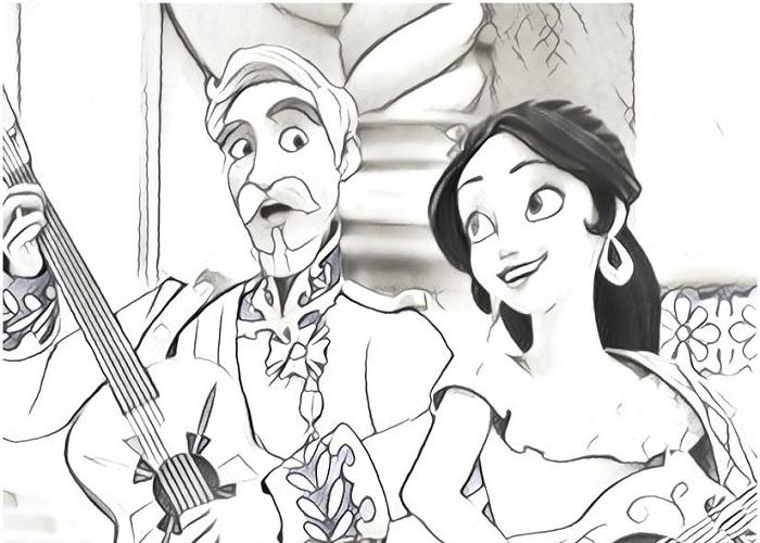 Coloriage gratuit à imprimer - Elena et Francisco