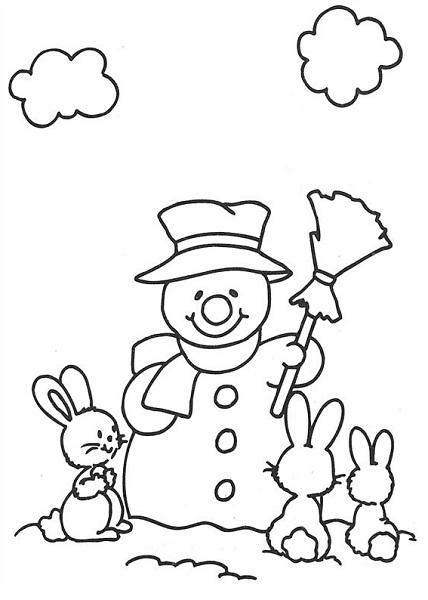 Coloriage noël à imprimer - Bonhomme de neige