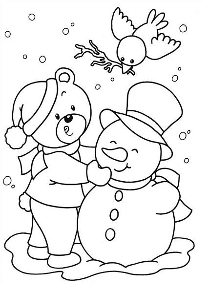 Coloriage noël à imprimer - Coloriage bonhomme de neige