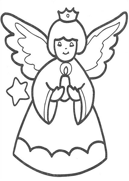 Coloriage noël à imprimer - Décoration ange de noël