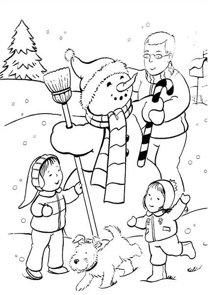 Coloriage noël à imprimer - Faire le bonhomme de neige en famille