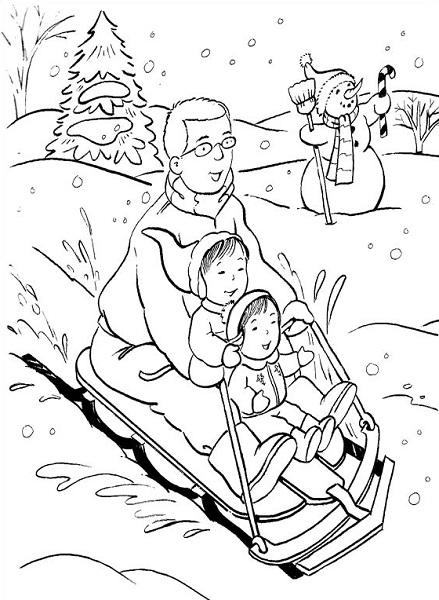 Coloriage noël à imprimer - Luge en famille