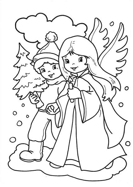Coloriage noël à imprimer - anges de noël