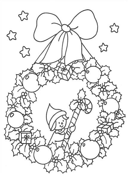 Coloriage noël - Coloriage couronne de noël