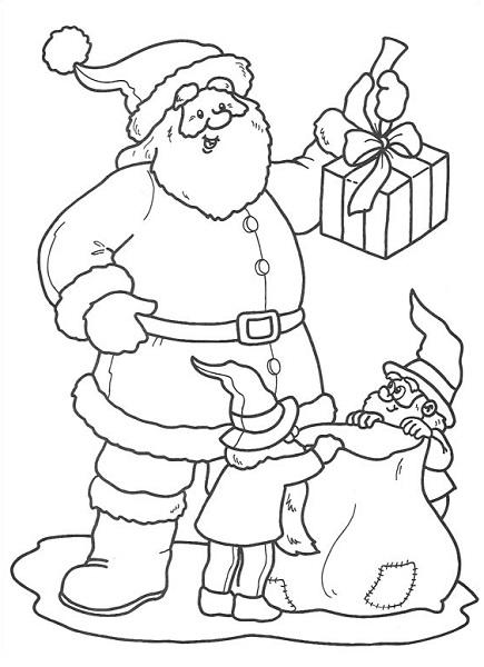 Coloriages de noël (père noël, elfes, rennes, lutins…)