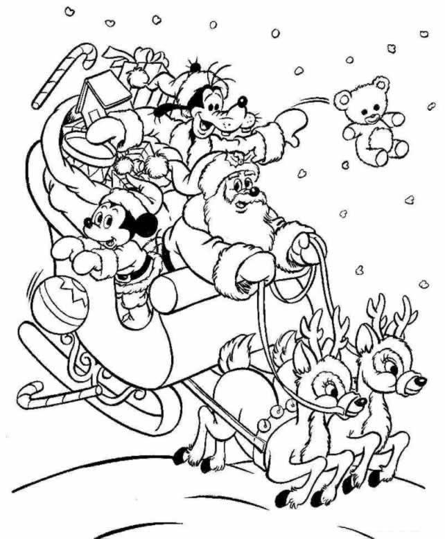 Coloriage noël - Père noël, Mickey et Dingo