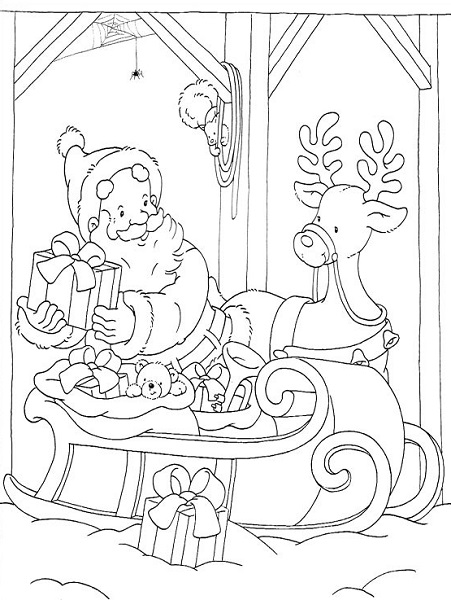 Coloriage noël en ligne du père noël et un renne
