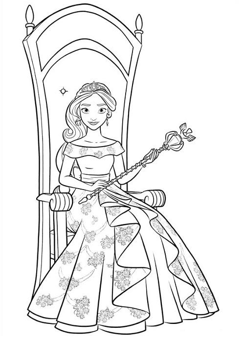 Coloriage princesse Elena d'Avalor sur son trône