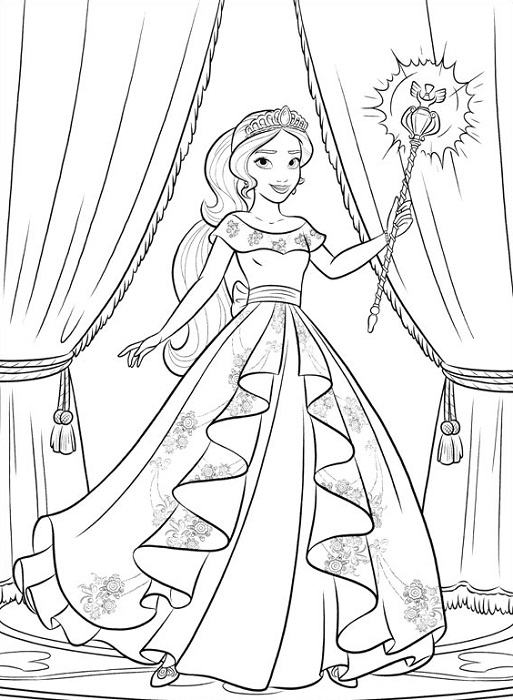 Coloriage princesse Elena d'Avalor