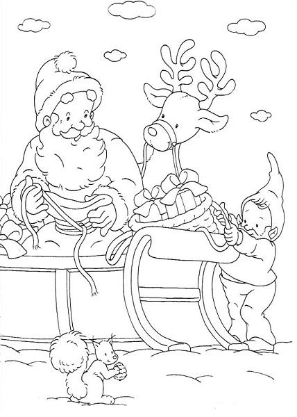 Coloriage renne, lutin et père noël