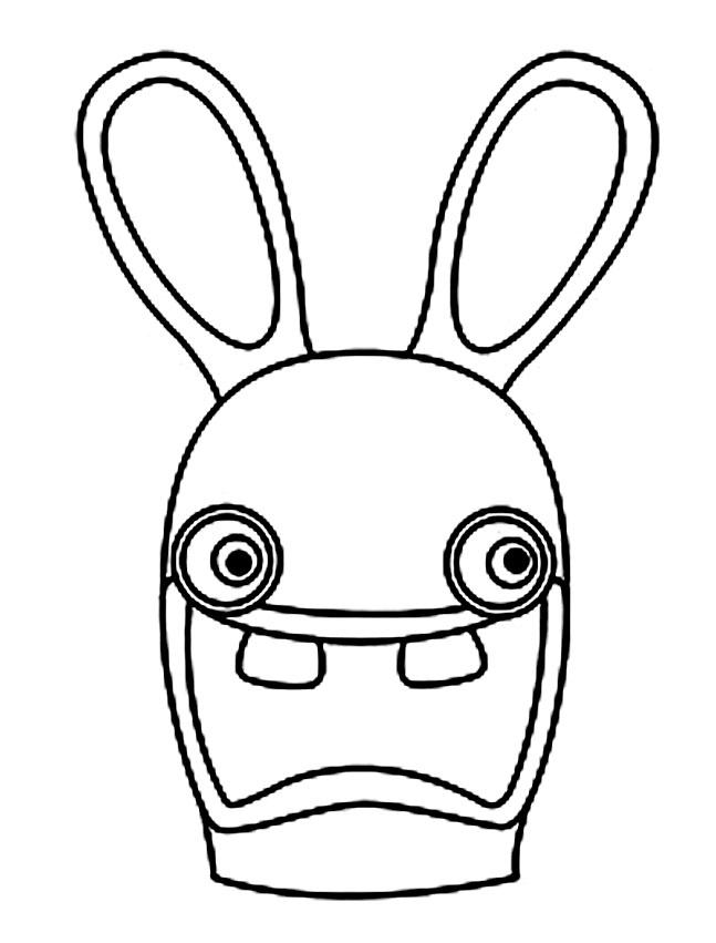 Coloriage lapin crétin - Coloriage de portrait de lapin crétin