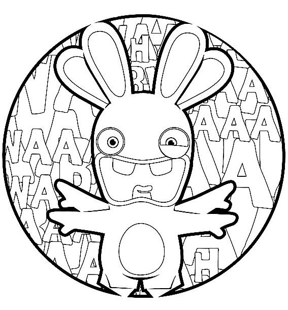 Coloriage lapin crétin - Coloriage lapin façon Michel Ange