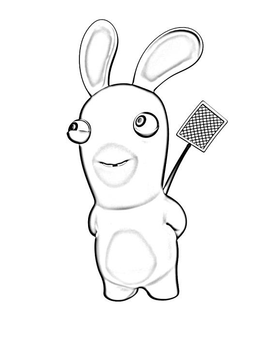 Coloriage lapin crétin - Lapin avec une ventouse (2)