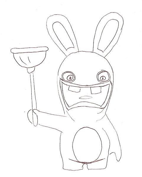 Coloriage lapin crétin - Lapin avec une ventouse