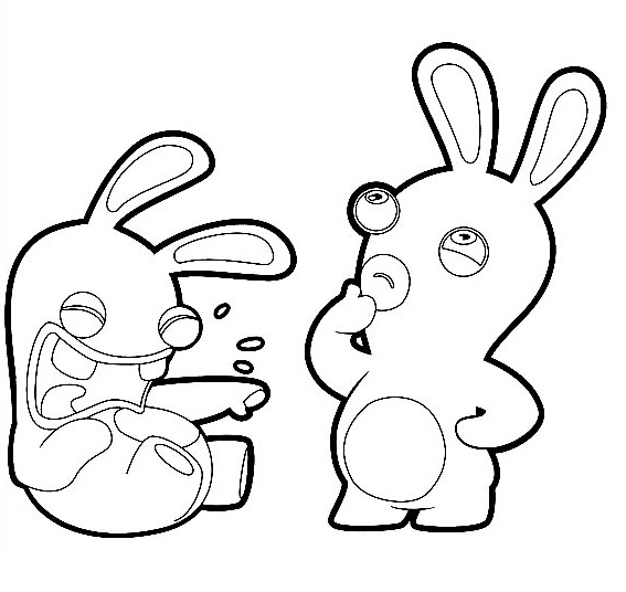 Coloriage lapin crétin - Lapin qui se moque