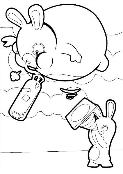 Coloriage lapin cretin - Lapin qui s'envole avec de l'hélium