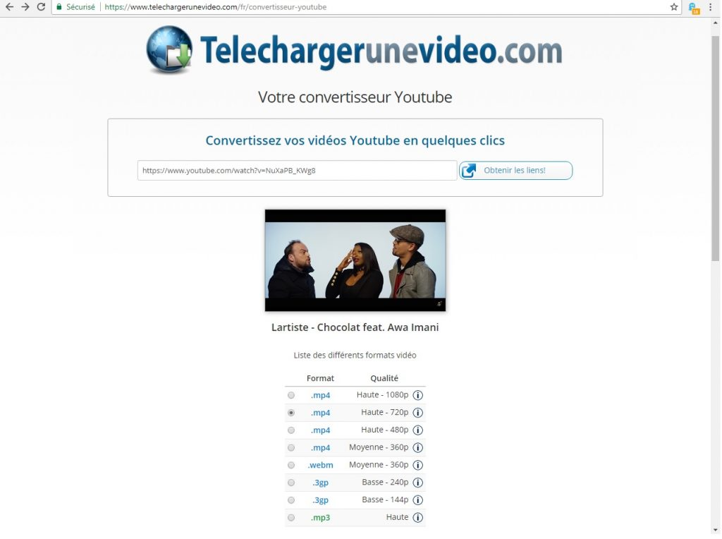 Convertir vidéo Youtube en MP4 ou MP3