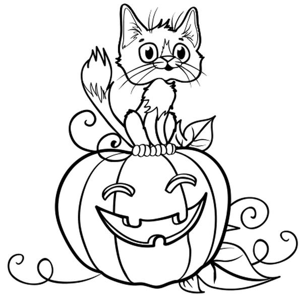 Coloriages Halloween - Citrouille et chat de sorcière